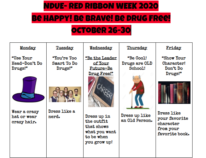 NDUE Red Ribbon Week 2020 is almost here!