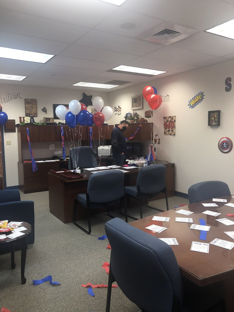 Mr. Carter's decorated office as he reads his messages